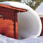 Vinter och snö på taket